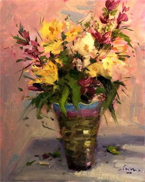 Flowers in Golden Vase