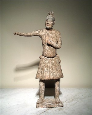 POTTERY FIGURE OF STANDING GROOM, Tang Dynasty (618-906)