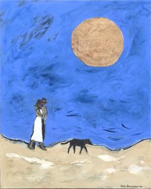 Couple, Dog and Big Moon