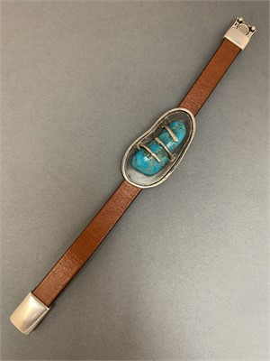 Bracelet - Leather with Arizona Turquoise Chunck set in Sterling Silver and Magnetic Clasp AS050, 2019