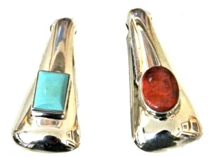 Pendant - Double Sided Sterling Silver with Turquoise & Spiny Oyster  1587