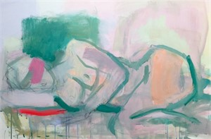 reclining, pink and green, 2016