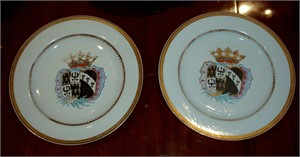 FOUR ARMORIAL DISHES WITH ARMS OF DE FAMARS AND VRIESEN, Circa 1752