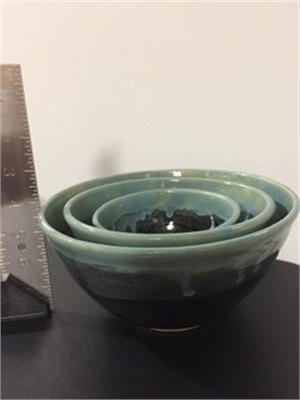 Black and Teal Nesting Bowls, 2019