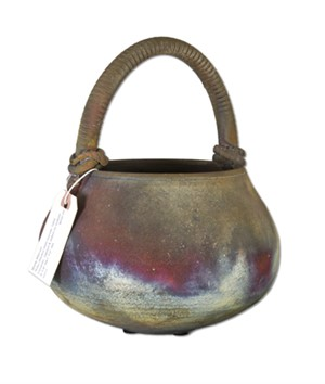 Raku Basket With Handle, 1984