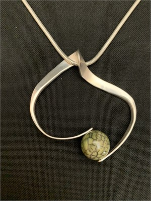 "Pendant - Sterling Silver with Lepord Jasper 24"" chain  AS041, 2019"