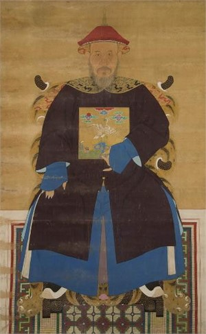 CHINESE ANCESTRAL SCROLL PAINTING OF A MANCHU CIVIL OFFICIAL, SIXTH RANK, Chinese, Qianlong Period, 18th century