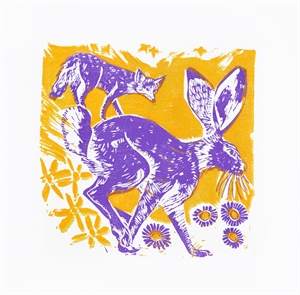 A Jackrabbit, Coyote, Asters and Ragwort Flowers, 2019