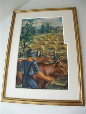 Front: Farmer with Cows  Back:  Field with Barn and Wagon, c.1938