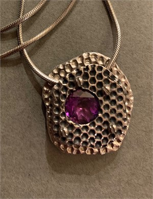 "Pendant - Captured stone with purple cz 16"" chain in sterling silver  ADC007, 2018"