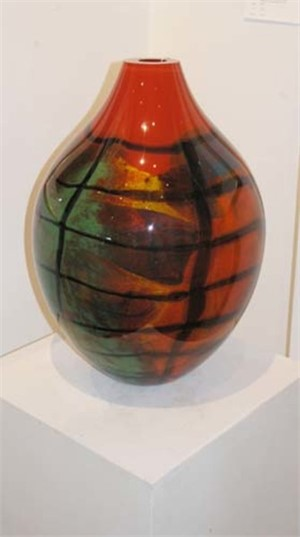 Oval Red Karo Large Vase, 2005