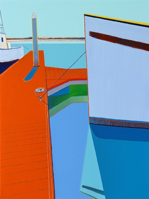 Orange Dock With Two Boats by Timothy Mulligan