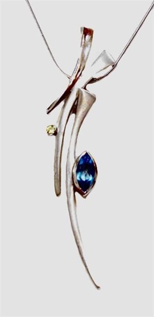 Pendant - Marquis Cut Blue Topaz, Peridot, .925 silver- Sticks & Stones