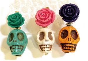 "Necklace - 18"" Flower sugar Skull Assorted"