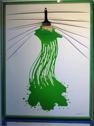 """Lets Paint"" Brush Green on White, 2018"