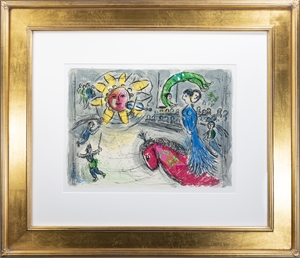 Soleil au Cheval Rouge (Sun with Red Horse), M 945 by Marc Chagall