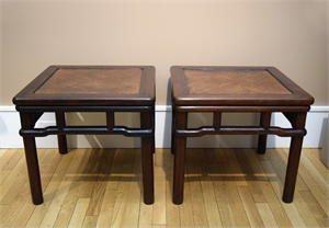 PAIR OF CHINESE HARDWOOD SIDE TABLES, Chinese, 19th century
