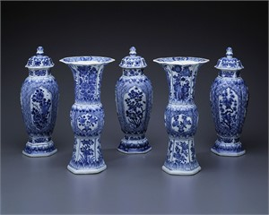 FIVE PIECE BLUE AND WHITE GARNITURE WITH FLORAL PANELS , Chinese, Kangxi Period (1662-1722)