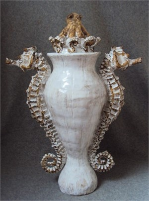 Seahorse Urn with Lid