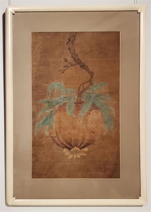 SET OF THREE CHINESE FLORAL PAINTINGS COMPRISING PEACH, POMEGRANATE AND LYCHEE STEMS, Chinese, Ming Dynasty, 17th century