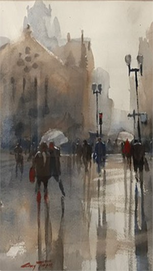 Copley Square in Rain, 2017