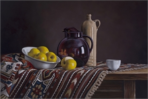 "JONATHAN EITEN, ""Red Pitcher with Bowl of Apples"""