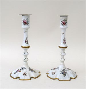 PAIR OF GILT-COPPER-MOUNTED SOUTH STAFFORDSHIRE ENAMEL CANDLESTICKS, PROBABLY BILSTON, English, circa 1760