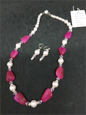 Necklace & Earrings - Swarovski Crystals,Pearls & Pink Chalcedony  #732, 2020