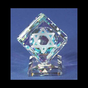 Crystal Cube 060mm with Star of David on Base-S