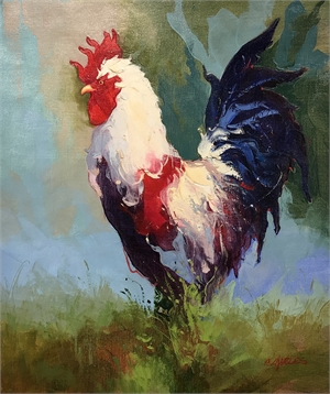 ROOSTER LOOKING LEFT LITE BACKGROUND by P CHARLES