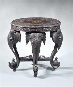ANGLO INDIAN CARVED HARDWOOD CIRCULAR SIDE TABLE, Anglo-Indian, 19th century