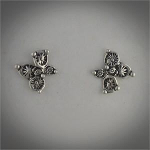 Earrings - Small Flower - Sterling silver cast earrings of stamped disc flowers. Post earring # 30513