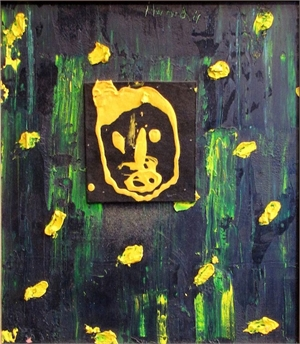 Yellow Felt Face on Green, 2011