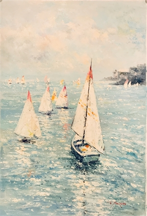 SAILBOATS JUST OFF THE COAST by J MORGAN