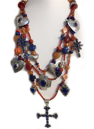 KY1285C - Three Strand Cross with carnelian, lapis, spiny oyster, 2019