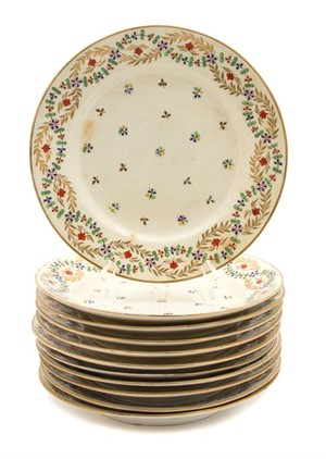 ELEVEN DERBY POLYCHROME AND GILT DECORATED PORCELAIN PLATES, English, 19th century