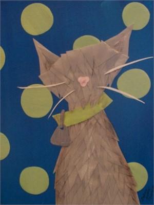 Grey Cat with Green Polka Dots