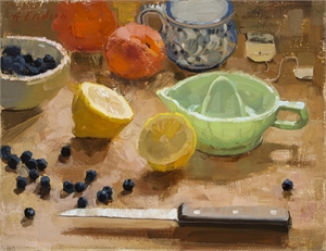 Still Life With Lemon and Milk Glass Green