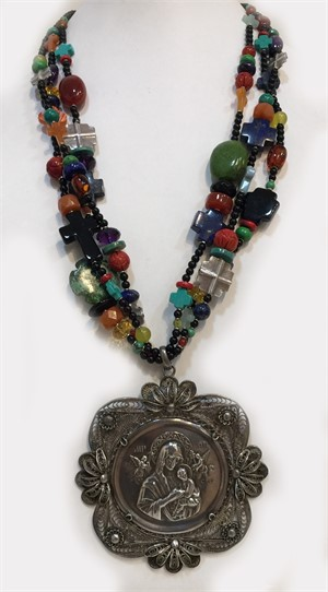 KY1280C Three strand vintage necklace with turquoise, coral, citrine and a vintage Mexican pendant with sterling silver., 2018