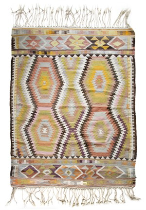 Kilim Rug  (pink, yellow, brown), Mid 20th cent.