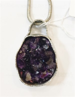 Pendant - Rare Deep Purple Amethyst from Uruguay Set In Sterling Silver ADC023, 2019