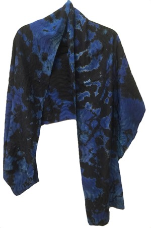 Wrap - Blue Reverse Shibori Wavy Crepe #107