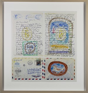 Homage to Picasso: Letter and Postage Stamp from Nice, France: Large Variation I, 2017