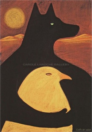 "JOURNEY WITH GOLDEN DOVE giclee on paper/framed or on canvas: Large 44""x30"" $3500 or Medium 37""x28"" $2200"