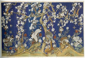 SET OF SIX PAINTED WALLPAPER PANELS (FRAMED), Chinese, late 18th century