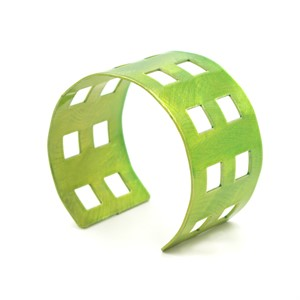 Green Powder-Coated Aluminum Bracelet