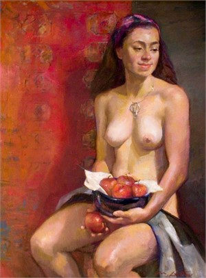 Seated Nude with Fruit Bowl