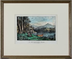 In the Northern Wilds Trapping Beaver, c1860