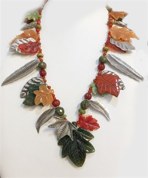 KY 1310C - Single Strand Carnelian, Peach Adventurine, Jade Leaves with Sterling Silver, 2019