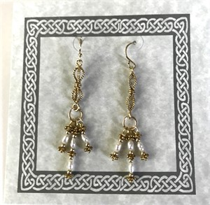 Earring - Freshwater Rice Pearls & Gold Vermeil   #8019, 2019